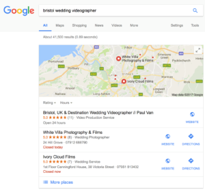 Ivory Cloud Films SEO Results